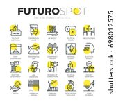 stroke line icons set of truth... | Shutterstock .eps vector #698012575