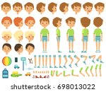 funny cartoon boy creation... | Shutterstock . vector #698013022