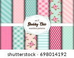 set of 12 cute seamless shabby... | Shutterstock .eps vector #698014192