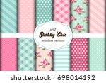 set of 12 cute seamless shabby...   Shutterstock .eps vector #698014192