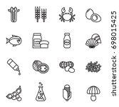 food allergen icons set. line... | Shutterstock .eps vector #698015425