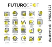 stroke line icons set of sound...   Shutterstock .eps vector #698019925