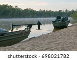 two fishing boats moored on... | Shutterstock . vector #698021782
