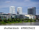 BRATISLAVA, SLOVAKIA - August 12, 2017: Panoramic view of the Bratislava city architecture from Danube river - stock photo