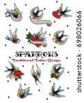 vector set of sparrows... | Shutterstock .eps vector #698026066