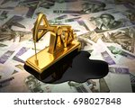 gold pumpjack and spilled oil... | Shutterstock . vector #698027848