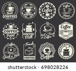 vintage coffee shop and cafe... | Shutterstock . vector #698028226