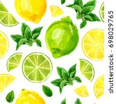 seamless pattern with citrus... | Shutterstock .eps vector #698029765