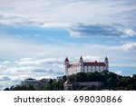 BRATISLAVA, SLOVAKIA - August 12, 2017: Panoramic view of the Bratislava castle and parliament building in the capital of one of the most popular tourist destinations in central Europe - stock photo