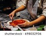 cooking pizza  italian food | Shutterstock . vector #698032936