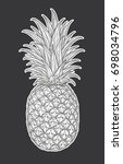 hand drawn decorative pineapple.... | Shutterstock .eps vector #698034796