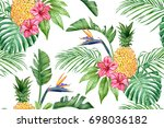 seamless pattern with pineapple ... | Shutterstock . vector #698036182