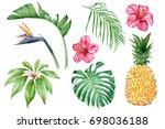 set of watercolor elements ... | Shutterstock . vector #698036188