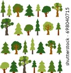 Variety Clip-art Tree Collection, Color, Vector Illustration - stock vector