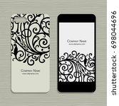 mobile phone design  floral... | Shutterstock .eps vector #698044696
