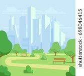 cartoon public city park with... | Shutterstock . vector #698046415