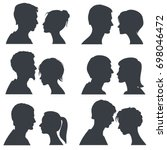 couple faces  young boy and... | Shutterstock . vector #698046472