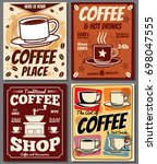 cafe and restaurant retro... | Shutterstock . vector #698047555