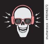 skull listen a music in... | Shutterstock .eps vector #698048272