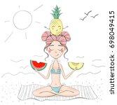 digital illustration. girl with ... | Shutterstock . vector #698049415
