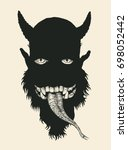 devil. comic character. eyes ... | Shutterstock .eps vector #698052442