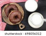 donut  milk  glass  jar  top... | Shutterstock . vector #698056312