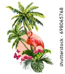 beautiful floral exotic vector... | Shutterstock .eps vector #698065768