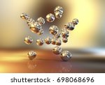 gold nanoparticles  3d... | Shutterstock . vector #698068696