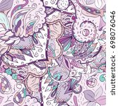 tracery seamless pattern.... | Shutterstock .eps vector #698076046