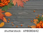 autumn background with colored...   Shutterstock . vector #698080642