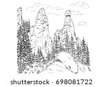 vector   rock adrspach isolated ... | Shutterstock .eps vector #698081722