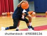 two teenage male basketball... | Shutterstock . vector #698088136