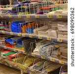 Small photo of Russia, St. Petersburg, 15,08,2017 Office supplies for the academic year in the supermarket