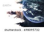 earth. space style water splash ... | Shutterstock . vector #698095732