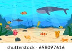 the bottom of the sea. the... | Shutterstock . vector #698097616