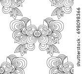 ethnic seamless pattern  black... | Shutterstock .eps vector #698098366
