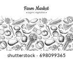 vegetable hand drawn vintage...   Shutterstock . vector #698099365