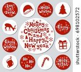 christmas new year gift round... | Shutterstock .eps vector #698102572
