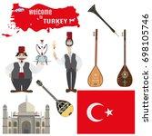 vector set of turkish symbols.... | Shutterstock .eps vector #698105746