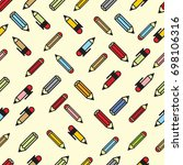 pictograph of pencils seamless... | Shutterstock .eps vector #698106316