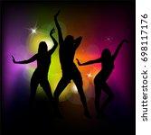silhouettes of dancing girls.... | Shutterstock .eps vector #698117176