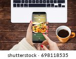 girl at home ordering... | Shutterstock . vector #698118535