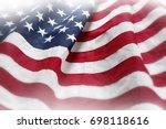 closeup of rippled american flag | Shutterstock . vector #698118616
