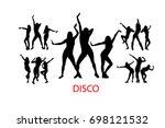 silhouettes of dancing girls.... | Shutterstock .eps vector #698121532