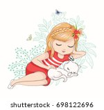cute girl with cat.love cards... | Shutterstock .eps vector #698122696