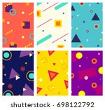 memphis style covers set with... | Shutterstock .eps vector #698122792
