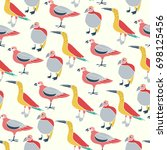 stylized exotic birds seamless... | Shutterstock .eps vector #698125456