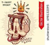 street king skull car wrap.... | Shutterstock .eps vector #698132095
