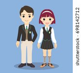 schoolboy and schoolgirl. back... | Shutterstock .eps vector #698142712