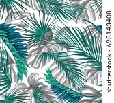 tropical palm leaves  jungle... | Shutterstock .eps vector #698143408